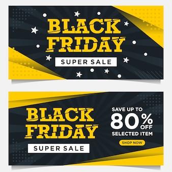 Bannières d'événement black friday et modèle de fond en couleur jaune et noire