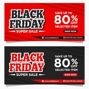 Bannières d'événement black friday, modèle de fond en couleur rouge et noire