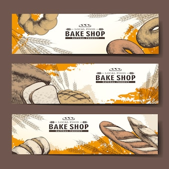 Bannières exquises de boulangerie dessinés à la main avec du pain délicieux