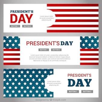 Bannières fantastiques avec les etats unis drapeau pour le jour du président