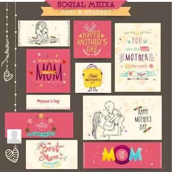 Bannières fantastiques avec de grands desseins pour la fête des mères