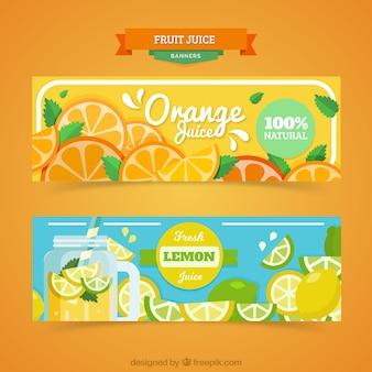 Bannières fantastiques avec jus d'orange et limonade