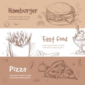 Bannières de fast-food dans un style dessiné à la main
