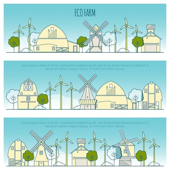 Bannières de ferme écologie. modèle avec des icônes de fine ligne de technologie de ferme écologique, durabilité de l'environnement local