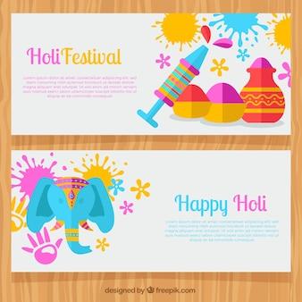 Bannières festival holi à la décoration traditionnelle plat