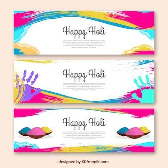 Bannières festival holi avec des taches colorées