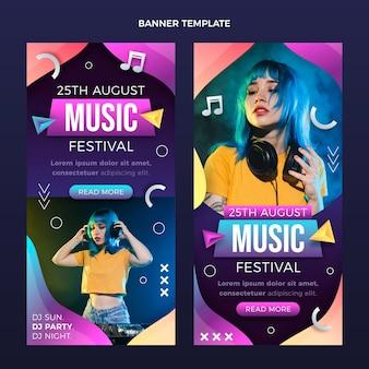 Bannières de festival de musique colorées dégradées verticales