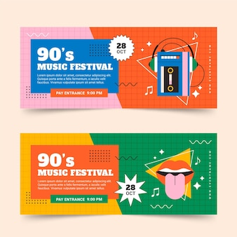 Bannières de festival de musique nostalgique à plat des années 90