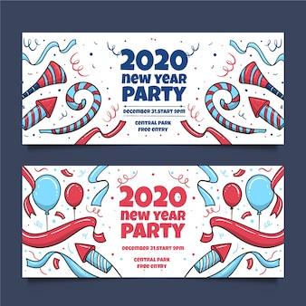 Bannières festives du nouvel an 2020 dessinées à la main