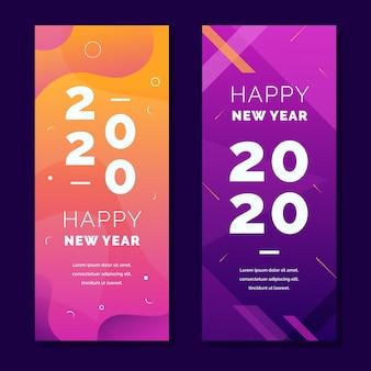 Bannières de fête abstrait nouvel an 2020 avec dégradé