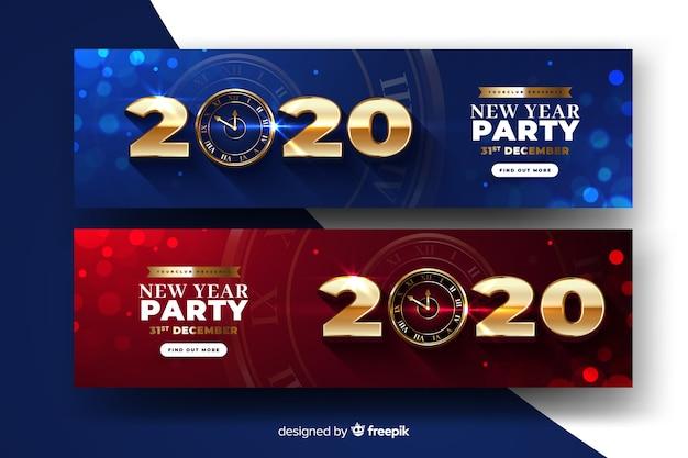 Bannières de fête abstrait nouvel an 2020