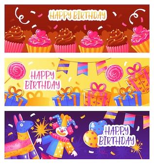 Bannières de fête d'anniversaire