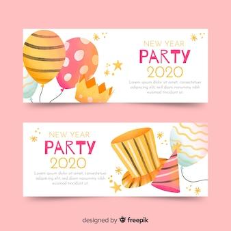 Bannières de fête aquarelle nouvel an 2020
