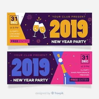 Bannières de fête du nouvel an 2019