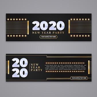 Bannières de fête du nouvel an 2020 au design plat