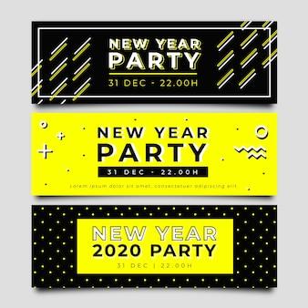 Bannières de fête du nouvel an 2020 dessinées à la main