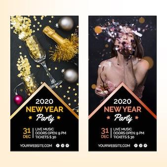 Bannières de fête du nouvel an 2020 avec image