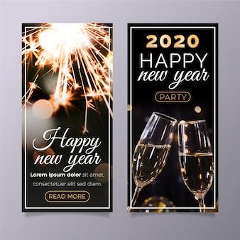 Bannières de fête du nouvel an 2020 avec jeu d'images