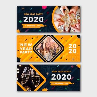 Bannières de fête du nouvel an 2020 avec photo
