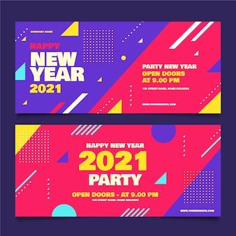 Bannières de fête du nouvel an 2021 au design plat