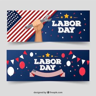Bannières de la fête du travail classique avec un design plat