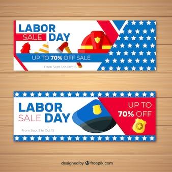 Bannières de fête du travail coloré avec un design plat
