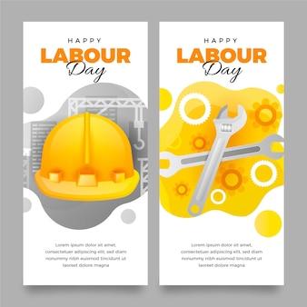 Bannières de la fête du travail dégradé