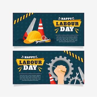 Bannières de fête du travail design plat