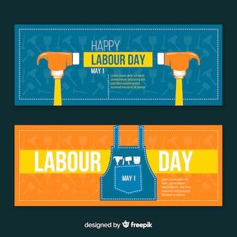 Bannières de la fête du travail dessinées à la main