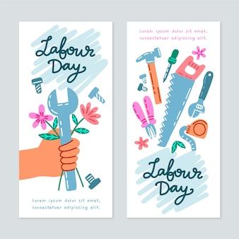 Bannières de fête du travail dessinées à la main