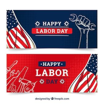 Bannières de fête du travail dessinés à la main