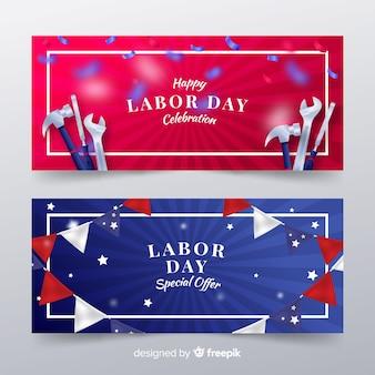 Bannières de la fête du travail des états-unis dans un style réaliste