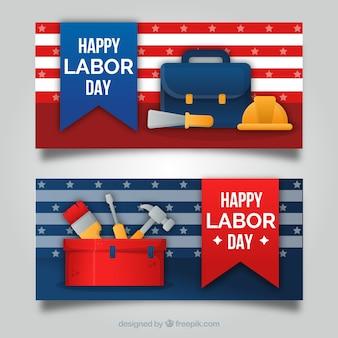 Bannières de la fête du travail moderne avec un design plat