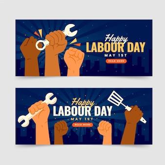 Bannières de la fête du travail plat organique