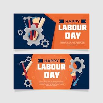 Bannières de la fête du travail avec roues mécaniques