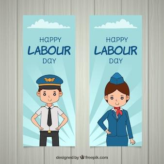 Bannières de la fête du travail avec les travailleurs