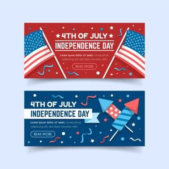 Bannières de fête de l'indépendance design plat