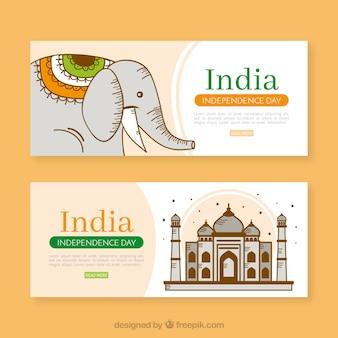 Bannières de la fête de l'indépendance de l'inde avec éléphant et monument