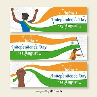 Bannières de fête de l'indépendance plat inde