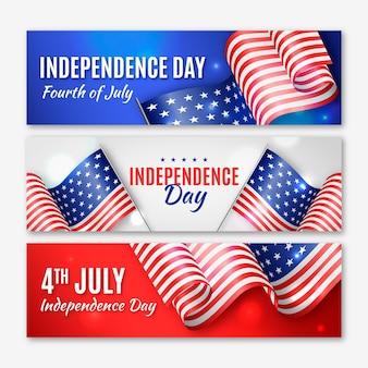 Bannières de fête de l'indépendance réalistes avec des drapeaux