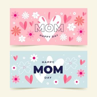 Bannières de fête des mères dessinées à la main