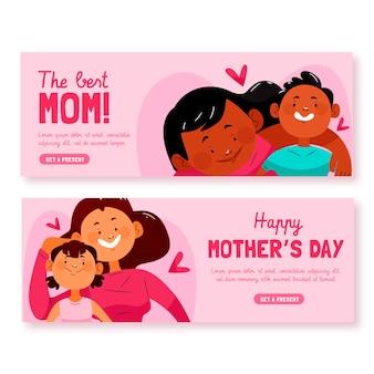 Bannières de la fête des mères dessinées à la main