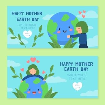 Bannières de la fête des mères avec femme et planète