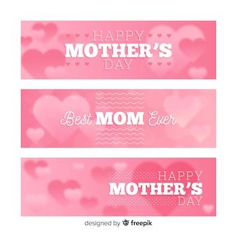 Bannières de fête des mères floues