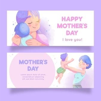 Bannières de fête des mères avec voeux
