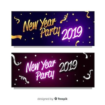 Bannières de fête moderne nouvel an avec design plat