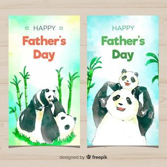Bannières de fête des pères aquarelle
