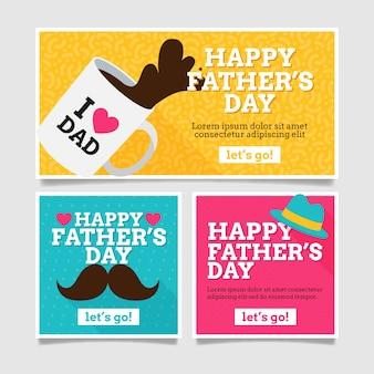 Bannières de fête des pères au design plat
