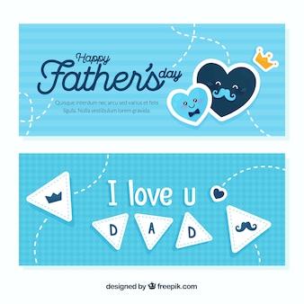 Bannières de fête des pères bleus