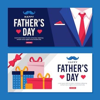 Bannières de fête des pères avec cadeaux et costume